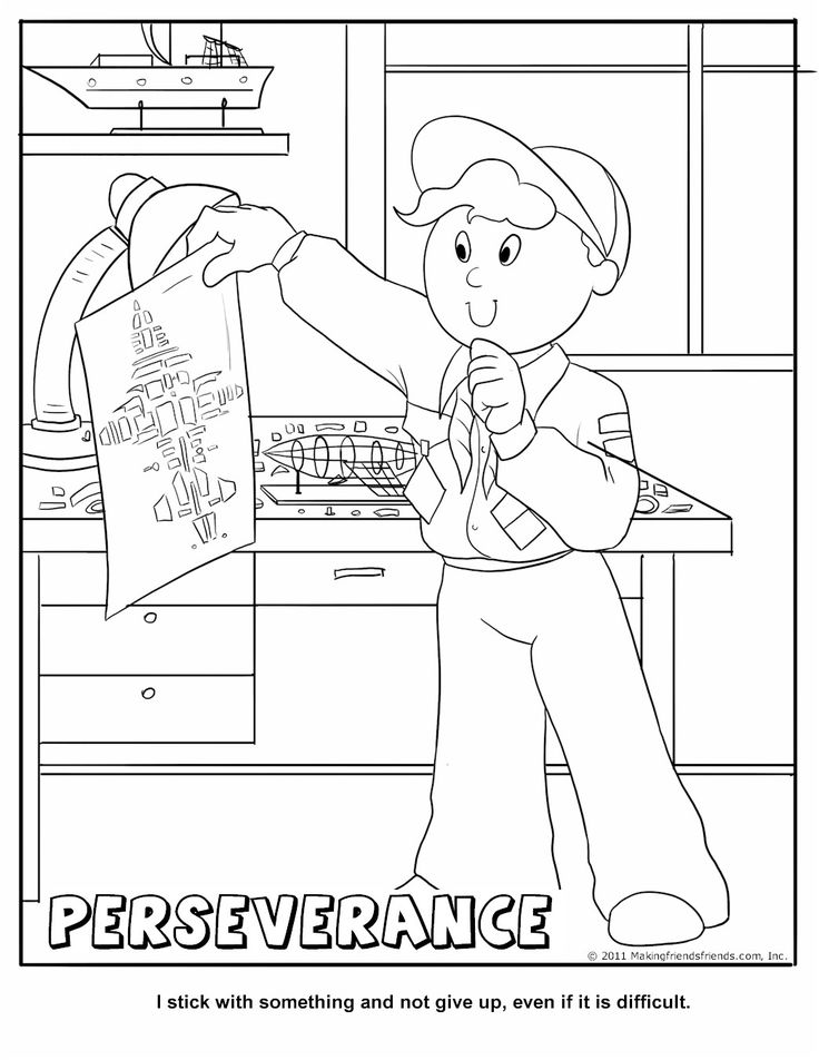 Perseverance Coloring Page.  Good lesson to use in conjunction with the 'Do Your Best' motto.