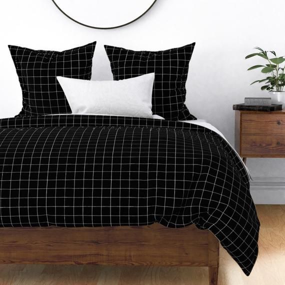 Modern Duvet Cover Grid Black White By Veenydreamed Geo Etsy White Bed Sheets White Bed Covers White Dorm Room