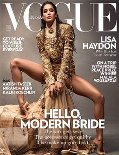 Lisa Haydon channeling a (very) modern Indian bridal look for Vogue India Nov 2014. Outfit: Manish Arora. Girl has stunning legs.
