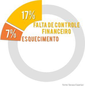 Estatística Serasa Experian para os motivos de não pagamento de contas.