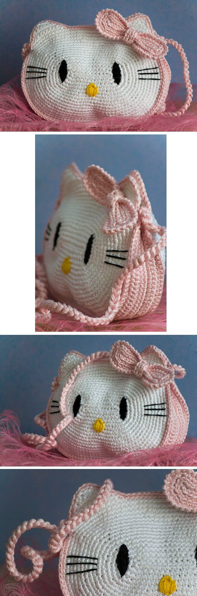 Hello Kitty purse - *Inspiration* It looks pretty easy if you break it down, 2 large ovals, add ears, sides and bow made in pink and all stitched together in the same pink with a pink strap. You could embroider on the facial features or glue on felt.