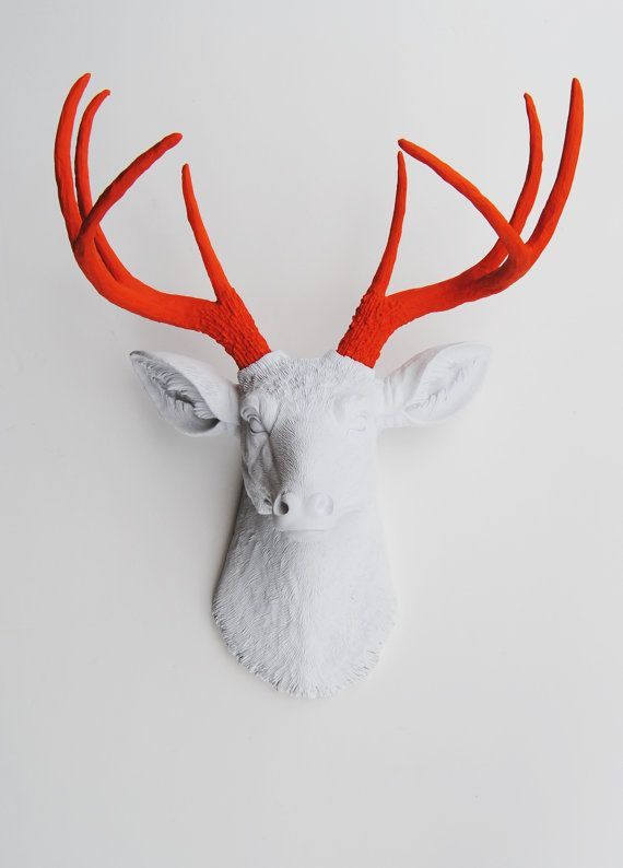 Faux Taxidermy - The Adelaide - White W/ Orange Antlers Resin Deer Head- Stag Resin White Faux Taxidermy