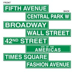 NYC Street Sign Cutouts (4/pkg)  Name each table after a famous New York landmark or street; Broadway, Central Park, Hunter College...