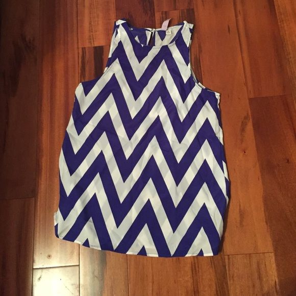 FLASH SALE!!! Chevron blouse MADE IN THE USA! Blue/white chevron sleeveless blouse! From Francesca's Collections! LIKE NEW WORN ONCE Francesca's Collections Tops Blouses