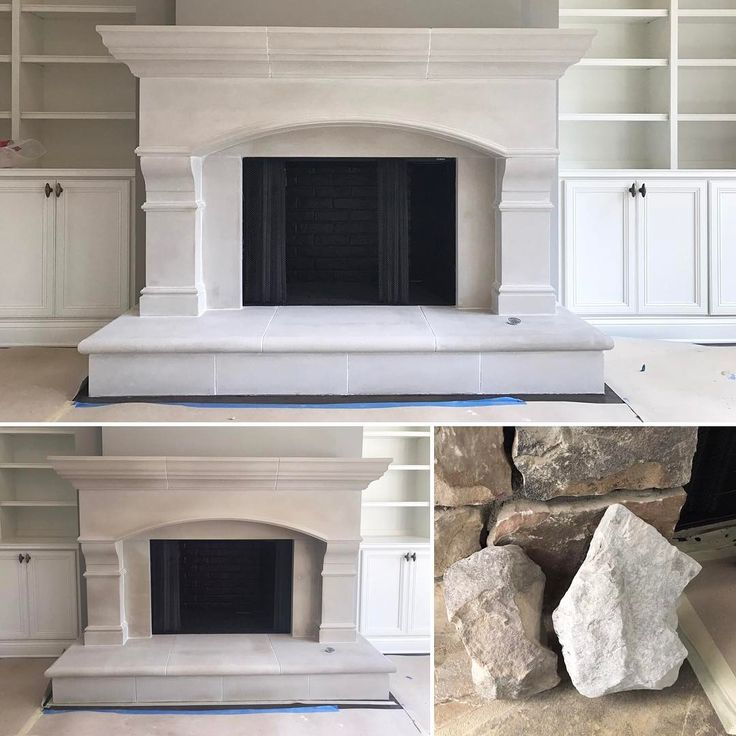 This limestone fireplace came out just a little too warm for the client's cool palette upon installation. Our lime wash application of OC-17, the trim color, tied it into the space. Tone it, don't paint it. #lime #limewash #stone #masonry #brick #romabiopaints application by #struttura @romabiopaints