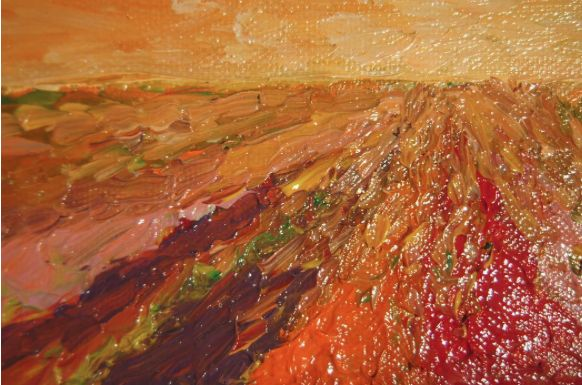 "Closer look on my painting:                    "" Vermilion ""  Oil on canvas.  Colori, country, countryside, Giardino, impressionism, Impressionismo, Natura, orange, Paesaggio, sun, sunset, Vita rurale."