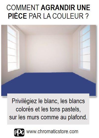 Privilégiez le blanc, les blancs colorés et les tons pastels, sur les murs comme au plafond pour agrdnir visuellement une pièce. www.chromaticstore.com #couleur #agrandir #espace