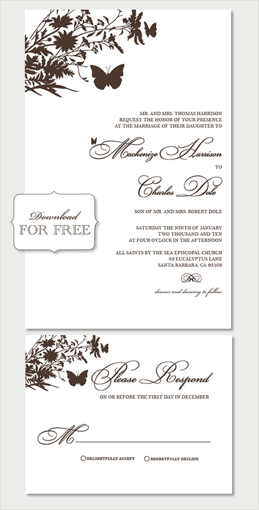 word templates for wedding invitations