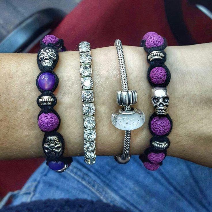 Purple handmade shamballa bracelets with skulls