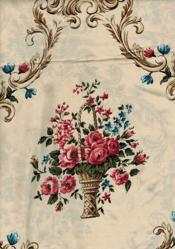 Shabby chic style roses baskets print viscose fabric for Tissu shabby chic