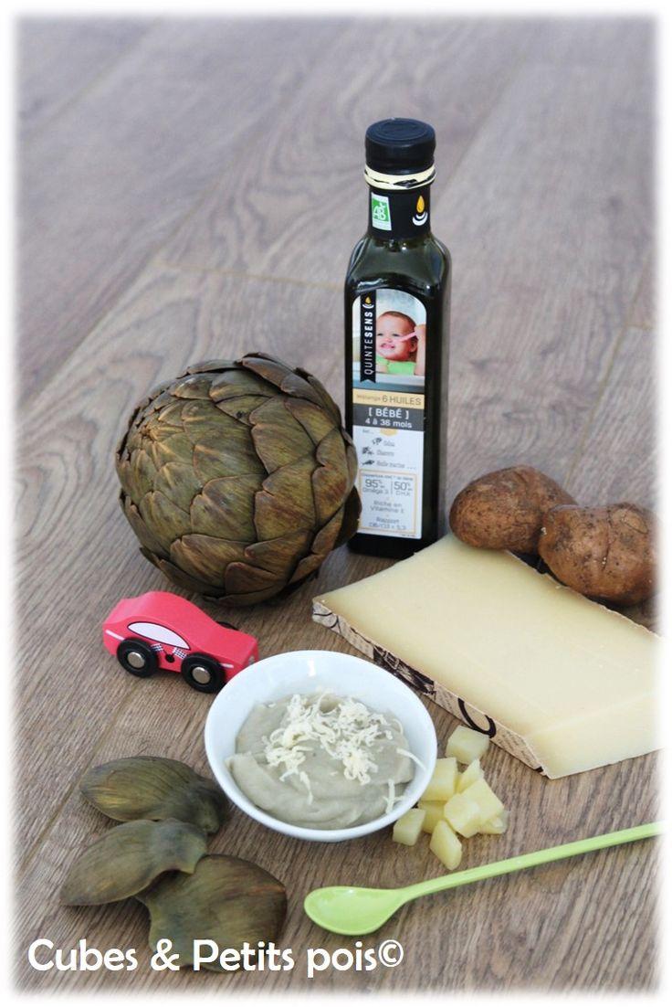Recette pour bébé de purée d'artichaut et Comté - http://www.cubesetpetitspois.fr/recette-bebe-puree-artichaut-comte-huile-quintesens/