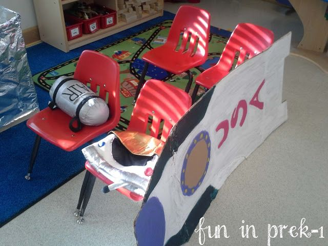 Outer Space theme Ideas for PreK & Kindergarten from Fun in PreK-1!  Includes ideas for dramatic play, art, math and literacy centers, and a freebie!