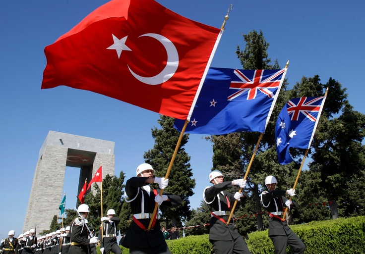 Anzac day ~ The Turkish, New Zealand and Australian flags together ♥