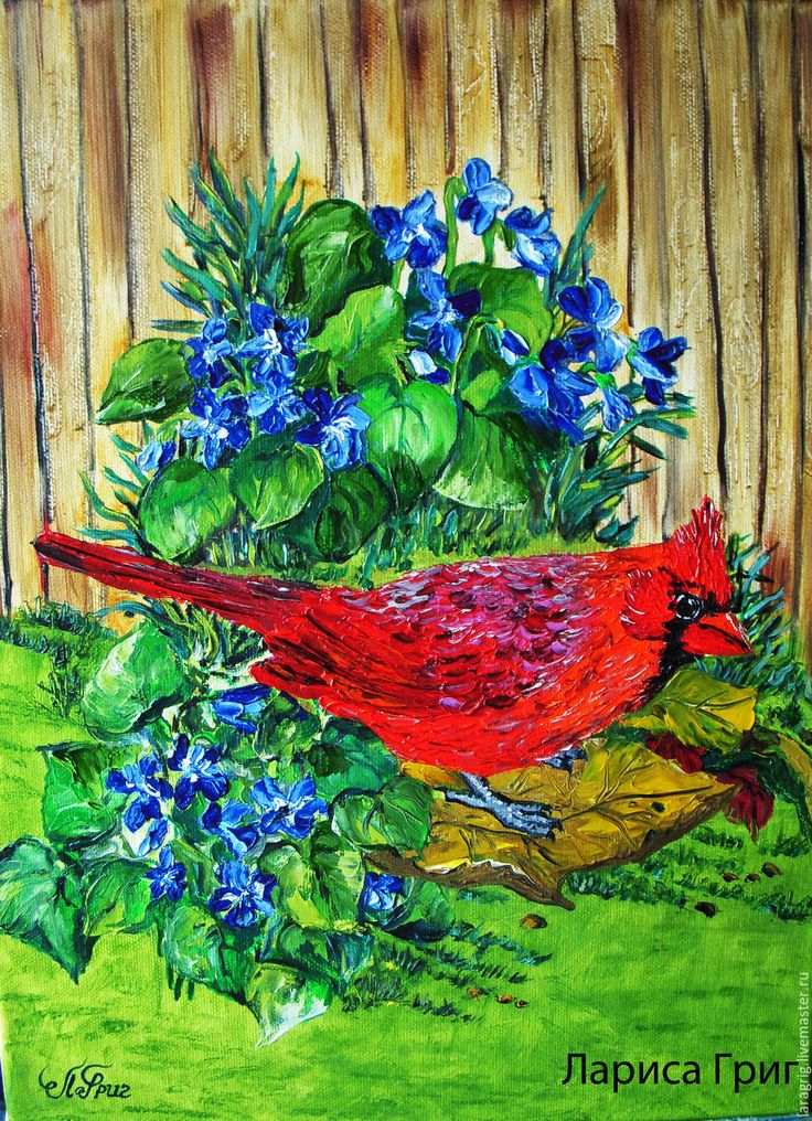 """Купить """"Красный Кардинал""""- художник Лариса Григ - зеленый, незабудки, птица, яркие цвета"""