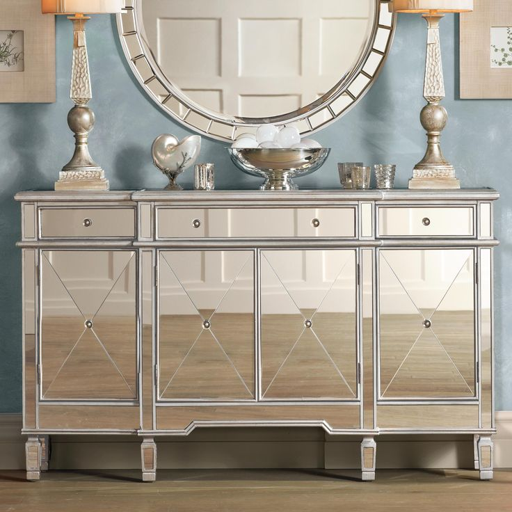 mirrored side table living room hailey mirrored console chest home decor furniture 22804