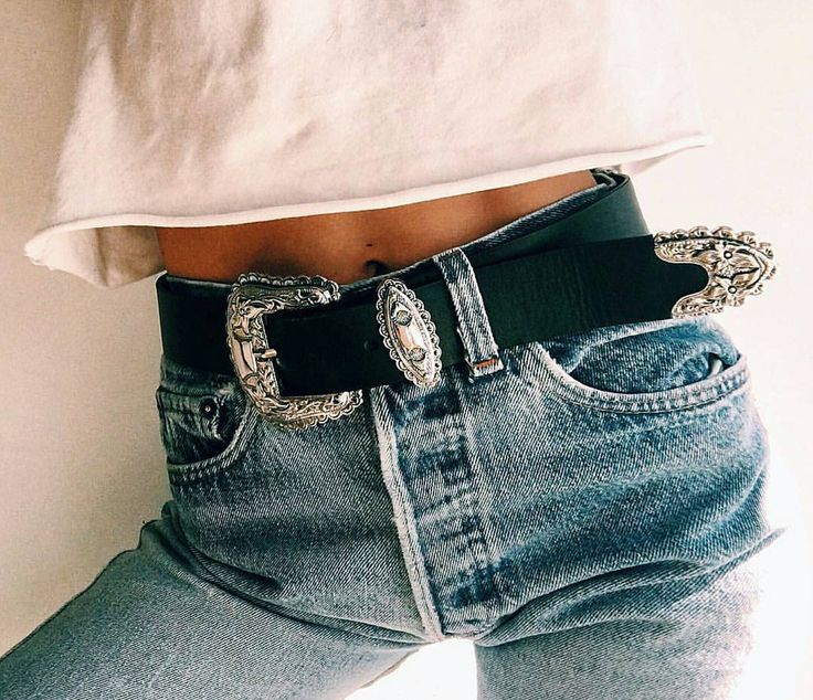 Western style buckle belt with jeans