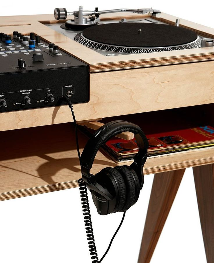 "See the ""battle style"" DJ stand that draws the eye while dispensing beats: birch & solid walnut make for stunning looks and durability."