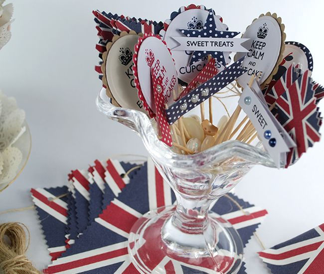 Free printable Union Flag Cupcake Toppers from the 'Best of British' Party Pack.