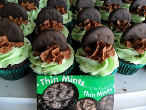 THIN MINT CUPCAKES! Great St. Patrick's Treat! Use box mix of devils food cake & add 1 sleeve of crushed Thin Mints -or 1/2 package crushed Keebler Grasshopper Cookies to the batter. Then use this vanilla buttercream frosting recipe~ http://www.myrecipes.com/recipe/vanilla-buttercream-10000001589417/ If you want a stronger mint flavor you can omit the vanilla extract from the frosting recipe and add 1/4 tsp. peppermint extract and green food coloring. Top off w/ chocolate frosting & cookie!