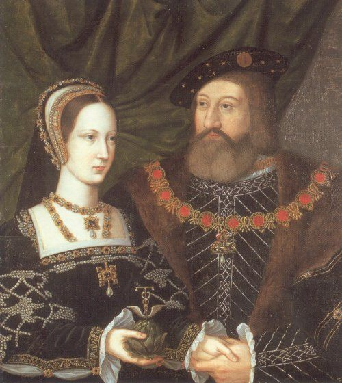 Princess Mary Tudor, youngest daughter of Henry VII. and Elizabeth of York. Born 8 March 1496 Died 25 June 1533. She is seen here with her second husband, her choice, Charles Brandon, Duke of Suffolk. She married first Louis XII. of France on October 09, 1514. Louis died on January 01, 1515.