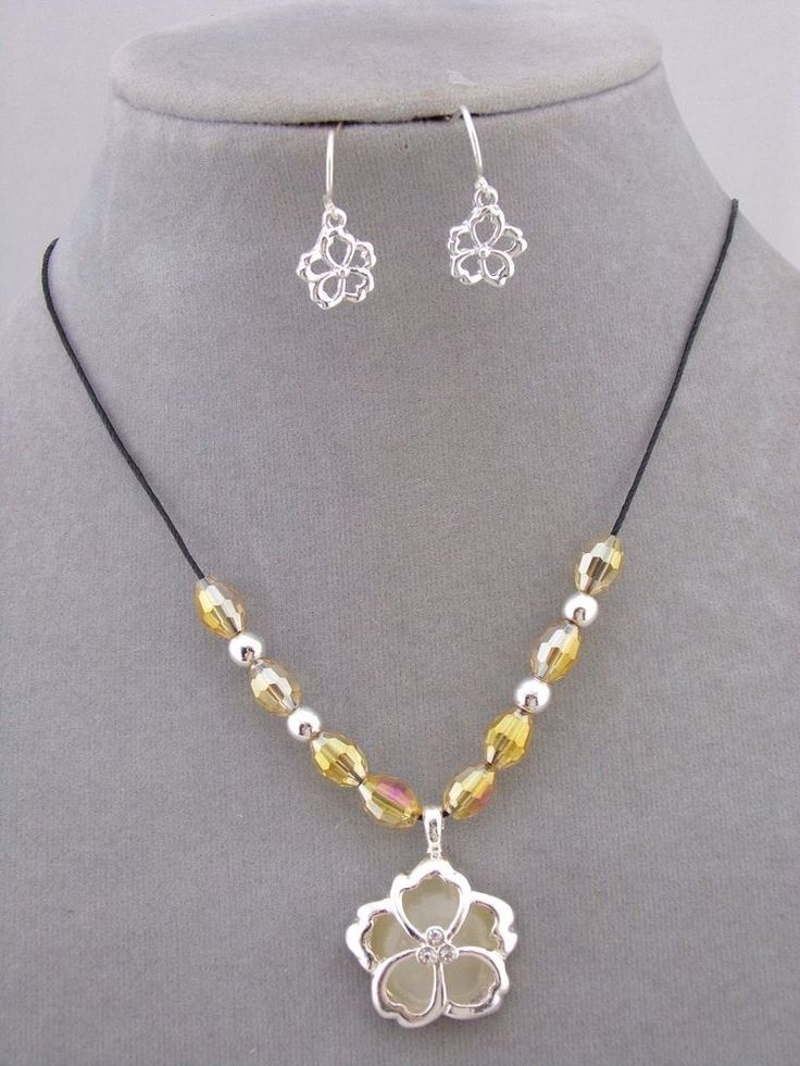 Flower Necklace Earring Set Silver Bead Crystal Rhinestone Fashion Jewelry NEW #Howards