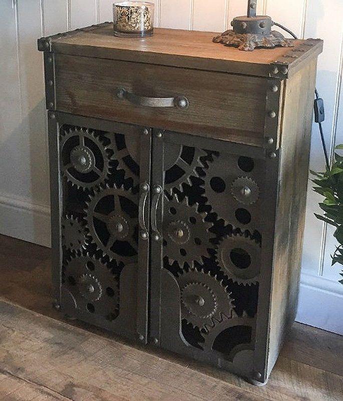 Vintage Industrial Storage Cabinet Furniture Rustic Wooden Doors 1 Drawer  Shelf
