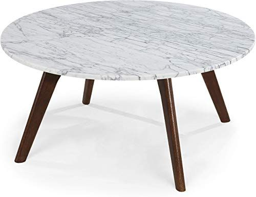 New Poly Bark Riley Marble Round Coffee Table Walnut Online In