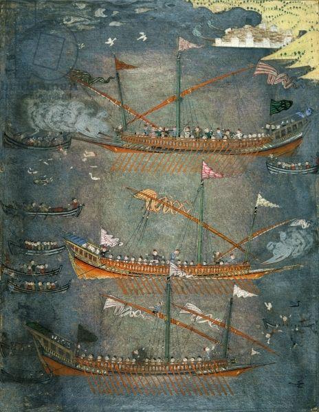 Turkish galleys in battle - c.1636