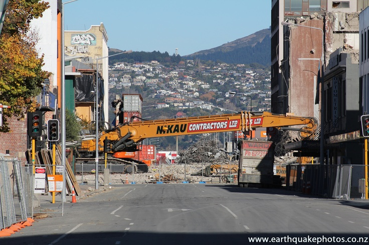 """High-reach excavator """"Twinkle Toes"""" on Manchester Street."""