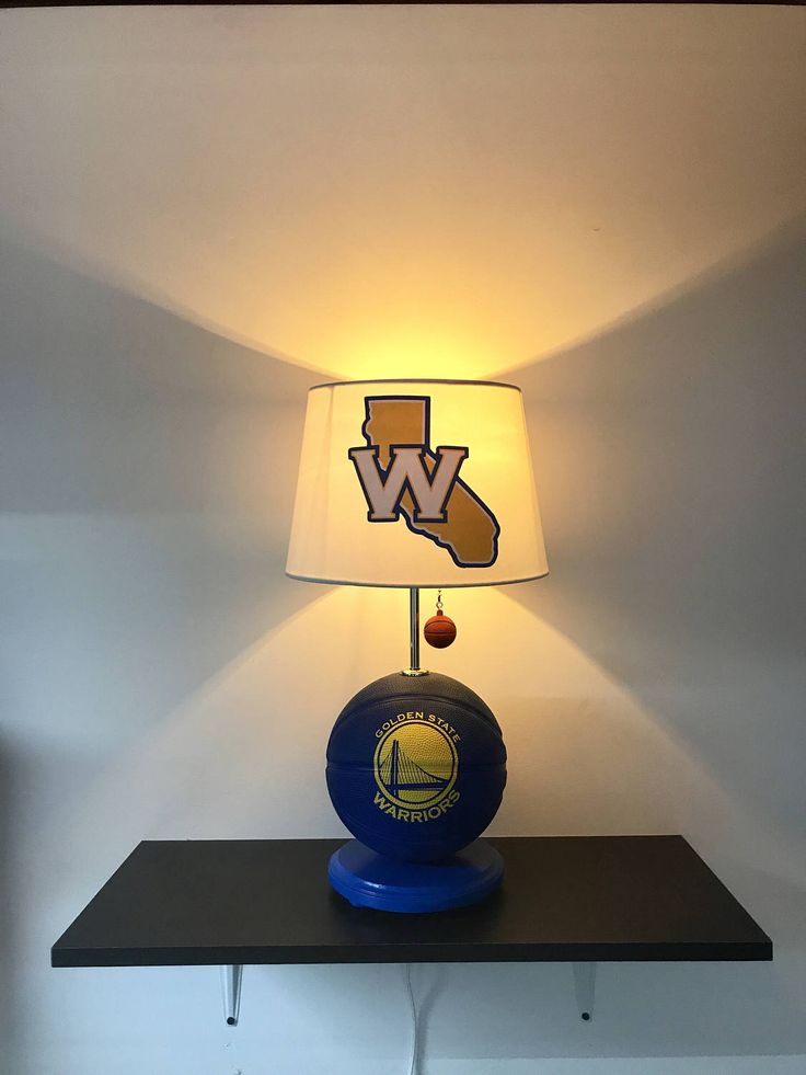 Golden State Warriors Lamp, NBA Light, basketball light, NBA, basketball lamp, kids room, man cave, night light, sports light, Warriors, Golden State Warriors, Steph Curry, Klay Thompson, Draymond Green, Kevin Durant, NBA Finals, Bay Area, Golden State Bridge, California, Basketball, Handmade, Instagram, Etsy, EBay, Unique, Unique Gift, Blue and Yellow, Boys Room, home and living, home decor,  by CaliradoArt on Etsy https://www.etsy.com/listing/509975380/golden-state-warriors-lamp-nba-light