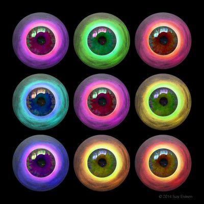 """Big Brother  This colourful and unique piece of art is a combination of painted art, photographic and graphic design. It was inspired by an Up Close Photography Challenge. This really got my imagination working overtime and was created by using a photograph of one of my acrylic artworks , a photography of my husband's eyeball lots of design and manipulation on Photoshop and a little artistic license. Its meaning """"Big Brother is watching You"""""""