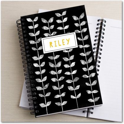 Artful Vines - Paper Notebooks - Lotta Jansdotter - Black | Get organized with a monogram notebook at www.TinyPrints.com