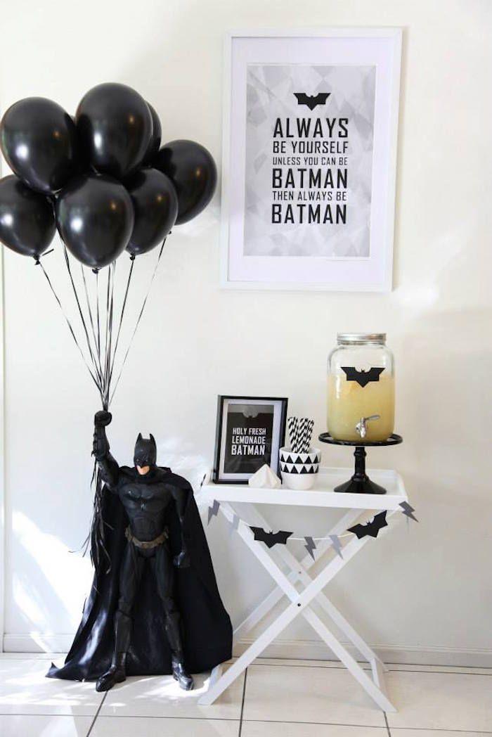 Modern Batman Birthday Party via Kara's Party Ideas   Party ideas, decor, desserts, printables, recipes, and more! KarasPartyIdeas.com (22)