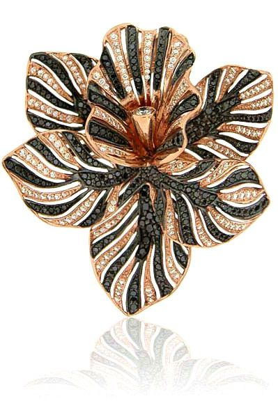 Zorab Atelier de Creation Bloom Tiger Striped Flower ring featuring spinel and black, white and yellow diamonds. Zorab Atelier de Creation Bloom Tiger Striped Flower ring featuring spinel and black, white and yellow diamonds.