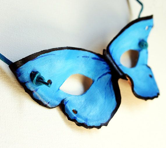 Leather Butterfly Mask-Hand Painted Blue Childrens Mask
