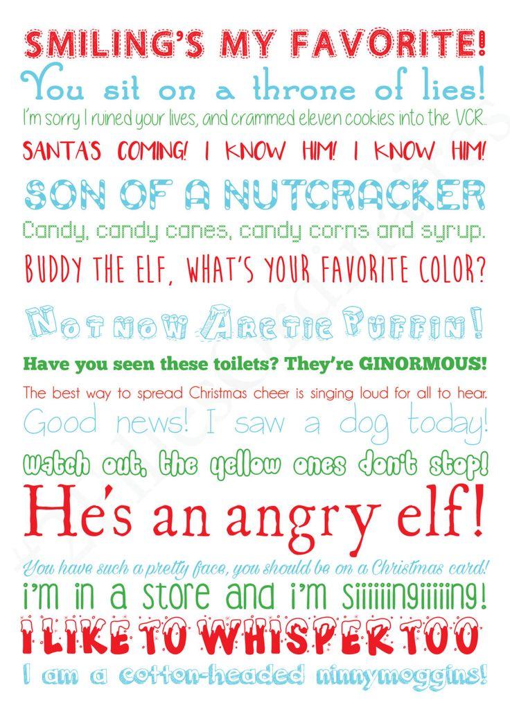 ELF Will Ferrel Holiday quotes DIGITAL file CHOOSE your color! 5x7 par 2FillesOrdinaires sur Etsy https://www.etsy.com/fr/listing/254686317/elf-will-ferrel-holiday-quotes-digital
