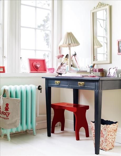 I love the idea of painting the radiator to give the room a pop of color