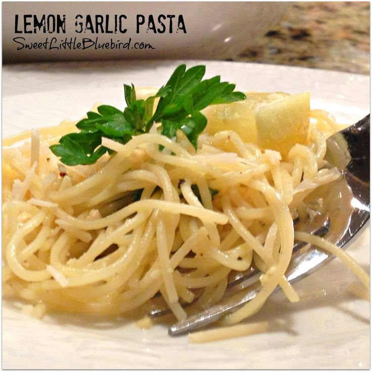 LEMON GARLIC PASTA  - Awesome Tried & True Recipe!!  Simple to make.  |  SweetLittleBluebird.com