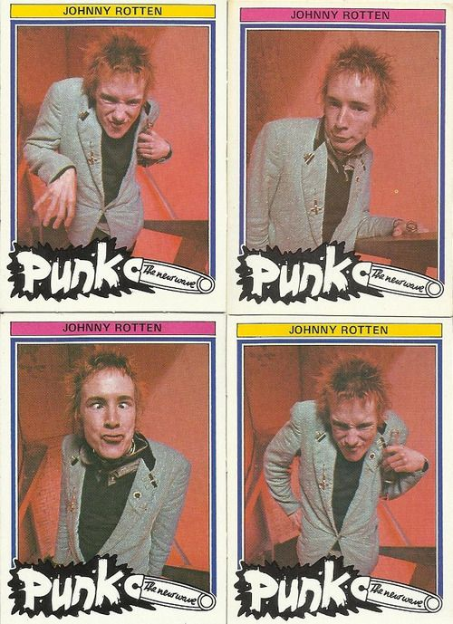 """Dutch Johnny Rotten trading cards, 1977. A loose definition of """"punk"""" - the set included cards of Dwight Twilley, The Babys, Dead End Kids and Split Enz."""