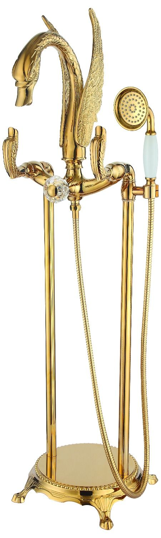 Free standing gold clour Floor Mounted swan Bath Tub shower Filler Faucet Handshower  #handshower