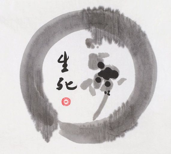 Original Chinese Calligraphy Life and Death Zen Circle