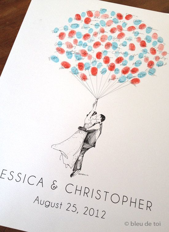 Custom Couple Thumbprint Balloon, The original guestbook wedding balloon (inks available separately)