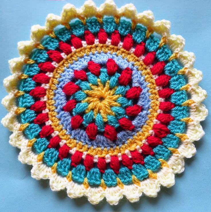 Petals And Puffs Mandala Motif By Jacquie - Free Crochet Pattern - (bunnymummy-jacquie.blogspot)