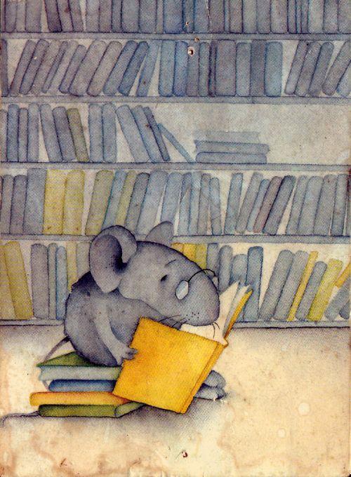 Ratón de biblioteca, roelector (ilustración de Hanne Türk)