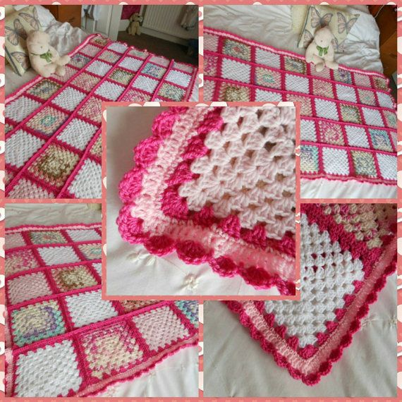 Double bed granny square cover blanket, crochet new home bedroom housewarming…