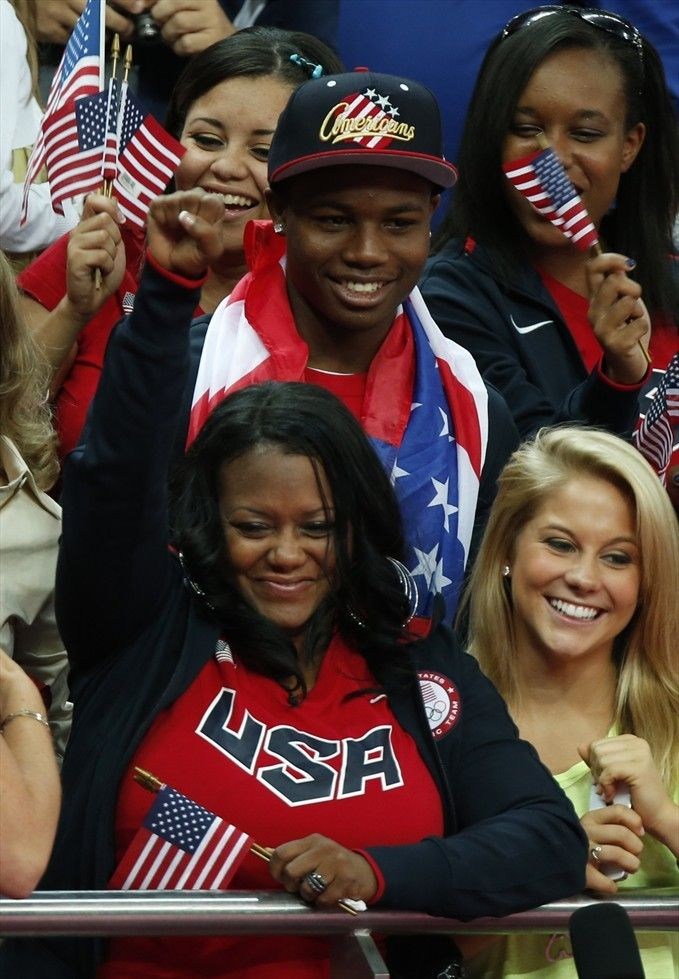 Gabby Douglas: Women's All-Around Final. Gabby's Mom, Shawn Johnson and Gabby's family watching from the stands.