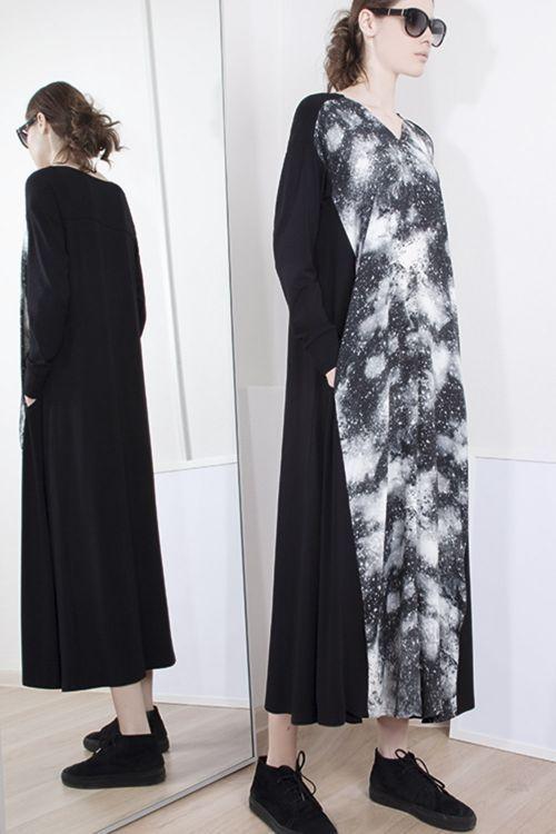 Lesel - Платье-клеш Млечный путь с трикотажем
