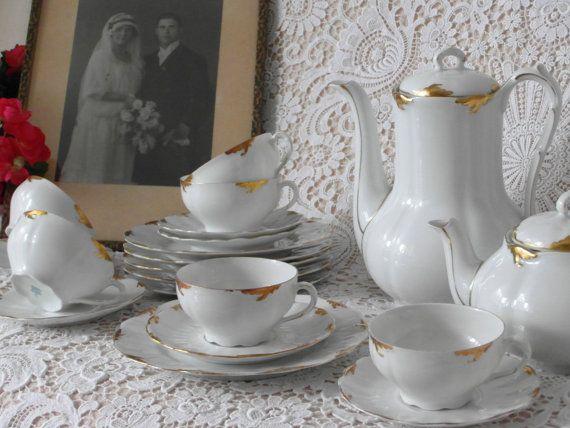 Antik Teetasse Trio WEIMAR Porzellan weiß Gold Biedermeier