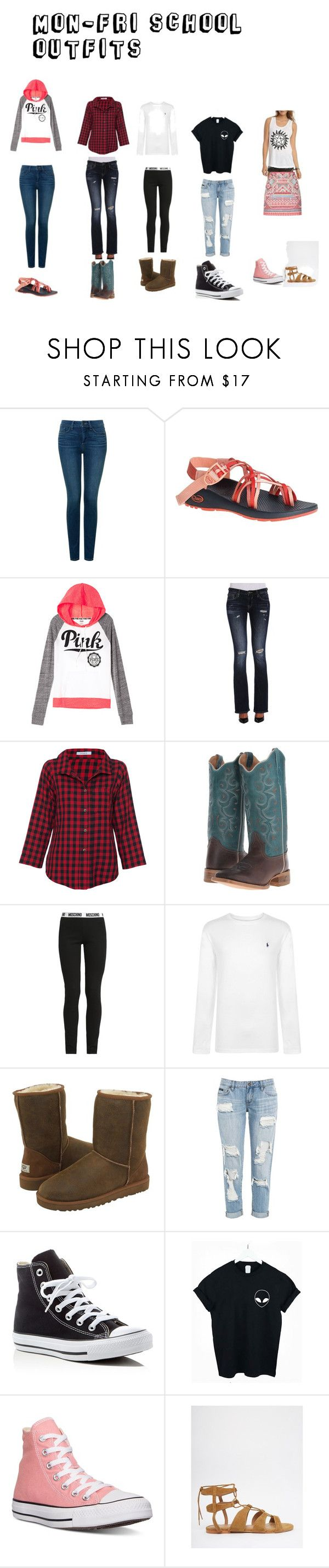 """monday- friday school outfits"" by mary-free on Polyvore featuring NYDJ, Chaco, Vigoss, Vitamin, Moschino, Polo Ralph Lauren, UGG Australia, Converse, WithChic and Vero Moda"