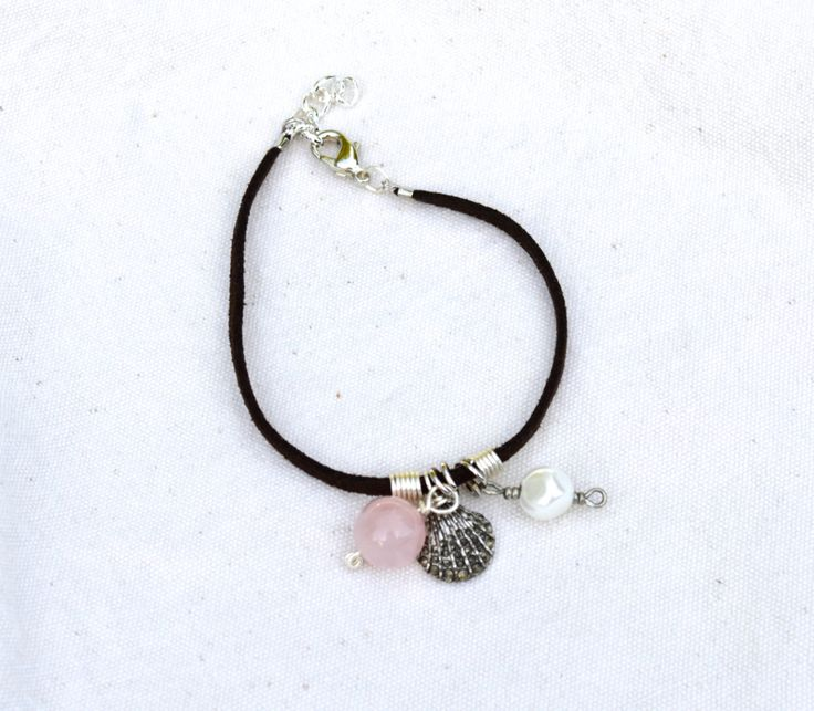 Soft+Suede+Bracelet+With+Rose+Quartz+Pearl+and+by+KEYZandMore,+$16.50
